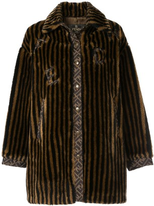 Fendi Pre Owned Striped Faux Fur Coat
