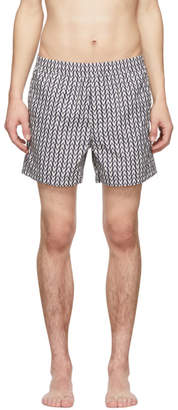 Valentino Navy and White Optical Swim Shorts