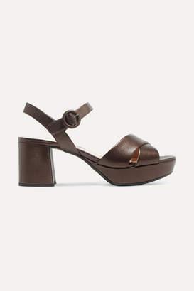 Prada 65 Metallic Leather Platform Sandals - Bronze