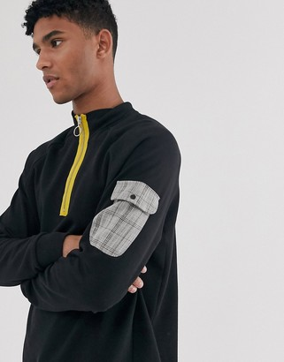Brooklyn Supply Co. Brooklyn Supply Co funnel neck sweatshirt with check pocket in black