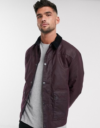 Barbour Bodmin wax jacket with inner tartan in burgundy-Red