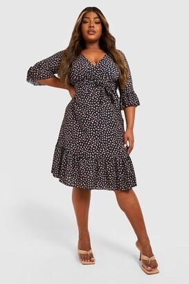 boohoo Plus Ruffle Hem Spotty Wrap Dress