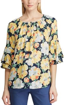 Chaps Women's Print Ruffle Sleeve Peasant Top