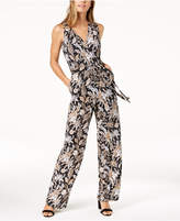 NY Collection Petite Printed Belted Jumpsuit