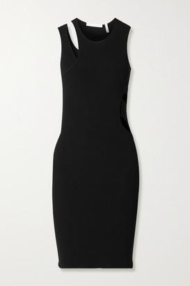 Helmut Lang Cutout Ribbed-knit Mini Dress - Black