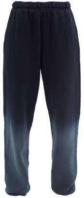 LES TIEN Ombre Brushed-back Cotton Track Pants - Navy