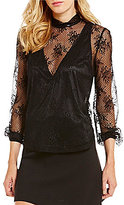 Gianni Bini Carmine Mock Neck 3/4 Sleeve Round Hem Lace Top