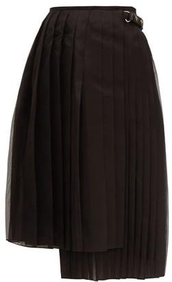 Fendi Pleated Silk-organza Midi Skirt - Womens - Black