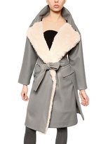 Au Jour Le Jour Mohair Eco Fur & Wool Cloth Coat