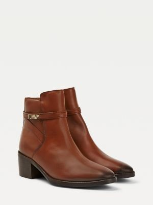 Tommy Hilfiger Strappy Leather Mid Heel Boot