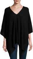 Neiman Marcus Cashmere Knit Asymmetric Wrap, Black
