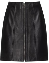 HUGO BOSS A Line Leather Skirt With Center Front Zip - Black