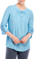 NY Collection Petite Lace-Up Front Blouse