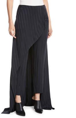 Hellessy Slim-Leg Striped Slim-Leg Pants with Skirt Overlay