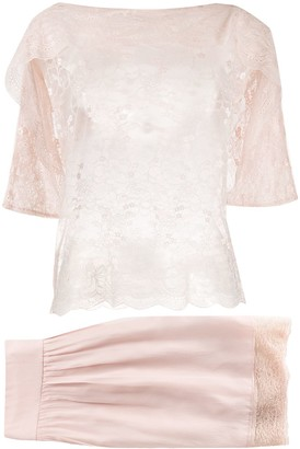 Christian Dior pre-owned sheer lace skirt and blouse