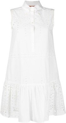 Ermanno Scervino Broderie Anglaise Sleeveless Shirt Dress