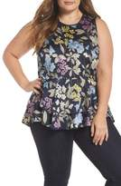 Vince Camuto Country Floral Ruffle Hem Top