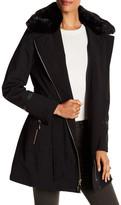 Via Spiga Faux Fur Trimmed Coat