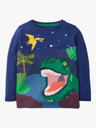 Boden Boys' Dinosaur Adventure Applique T-Shirt, Blue Gem