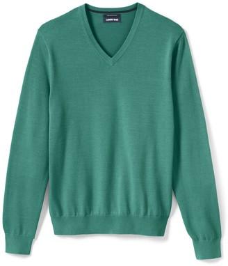 Lands' End Big & Tall Classic-Fit Fine-Gauge Supima Cotton V-neck Sweater