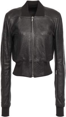 Rick Owens Ribbed Knit-paneled Pebbled-leather Bomber Jacket
