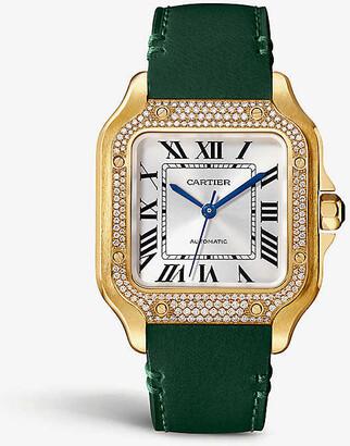 Cartier Santos de 18ct gold, diamond and leather watch