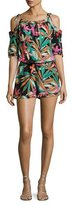 Trina Turk Affable Floral Silk Cold-Shoulder Romper, Black