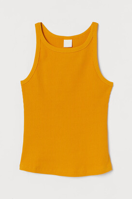 H&M Ribbed Tank Top - Yellow