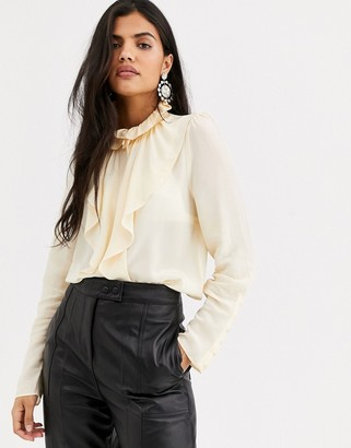 And other stories & high neck ruffle blouse in cream