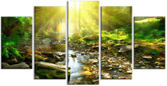 "Design Art Usa ""Mountain Stream in Forest"" Landscape Photo Metal Wall Art, 5 Panels,"