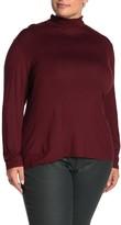 Lafayette 148 New York Mock Neck Zip Back Long Sleeve Top (Plus Size)