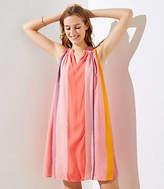 LOFT Watercolor Stripe Halter Swing Dress