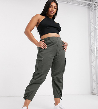ASOS DESIGN Curve cargo pants with utility pocket in khaki