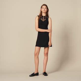Sandro Dress With Lace Insets