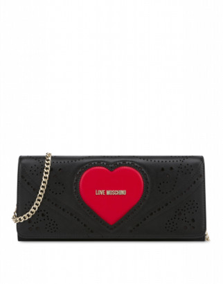 Love Moschino Maxi Clutch Heart Embroidery Woman Black Size U It - (one Size Us)