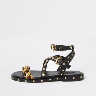 River Island Womens Black leather stud gladiator sandals