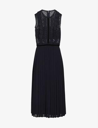 Reiss Tenley lace-panel midi dress