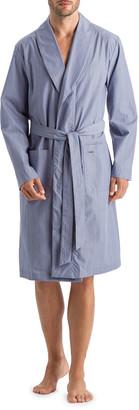 Hanro Men's Lynel Striped Cotton Robe