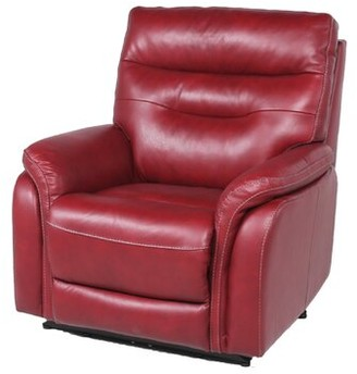 Red Barrel Studio Javon Leather Power Recliner Upholstery Color: Dark Red