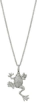 Nina Gilin Black Rhodium-Plated Silver & Diamond Pave Frog Pendant Necklace