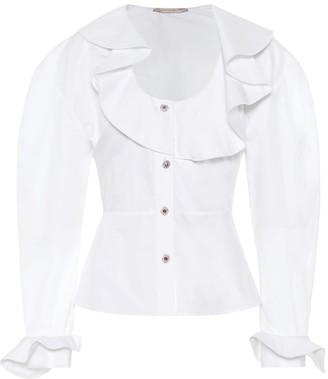 Christopher Kane Ruffled cotton blouse