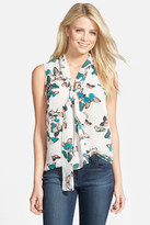Halogen Tie Neck Sleeveless Blouse (Petite)