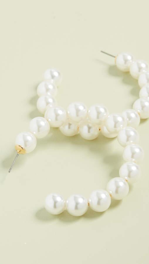 Lele Sadoughi Stardust Imitation Pearl Hoops