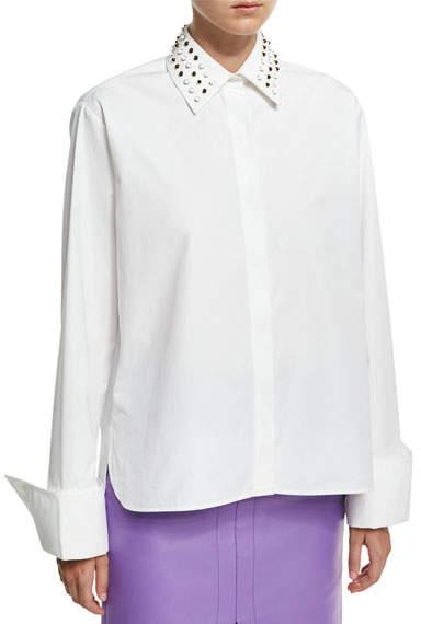 Derek Lam Studded-Collar Poplin Shirt, White