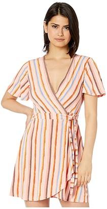 BCBGeneration Short Sleeve Wrap Dress TRW6279395 (Multi) Women's Dress