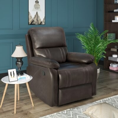 Thumbnail for your product : Red Barrel Studio Jiannah 34'' Wide Faux Leather Manual Ergonomic Recliner Body Fabric: Dark Brown Faux Leather