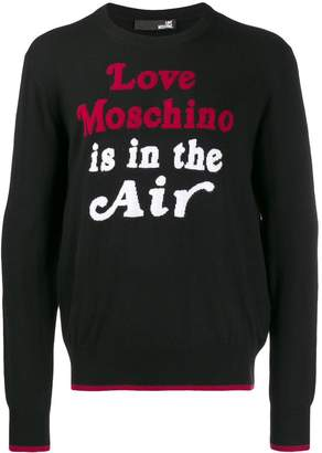 Love Moschino quote print sweater