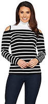 Susan Graver Striped Rayon Nylon Cold ShoulderSweater