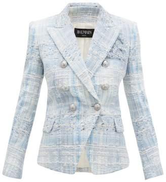 Balmain Double Breasted Check Tweed Blazer - Womens - Blue White
