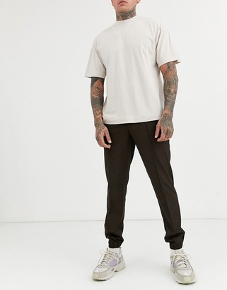 ASOS DESIGN slim cropped smart pants with jogger cuff in brown